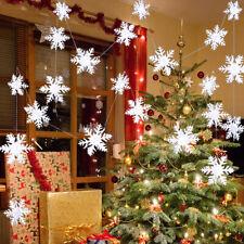2* White Snowflake Christmas Hanging Ornament Xmas Tree Party Home Decor Garland