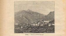 Stampa antica CORTE veduta panoramica Corse Corsica 1891 Ancien Gravure