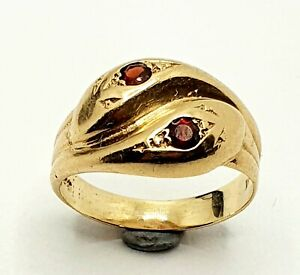 9ct yellow gold Ruby Snake Ring Size M 1/2