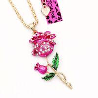 Women's Enamel Crystal Rose Flower Pendant Sweater Chain Betsey Johnson Necklace