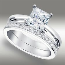 2.00 Ct Princess Cut Lab Engagement Ring & Channel Wedding Band 14k White Gold