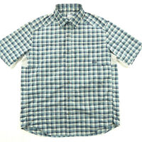 REI Mens L Large Short Sleeve Vented Shirt Blue Check Outdoors Hiking Camping