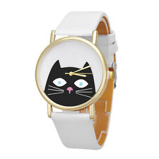 Unique Womens Wrist Watch Unisex Cat Leather Analog Quartz Dial Dress Watch DZ02