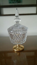 Diamond point cut vintage lead crystal and steeple lid candy dish