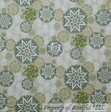 BonEful Fabric FQ Cotton Quilt VTG Green Xmas White Snowflake Paisley Star Small