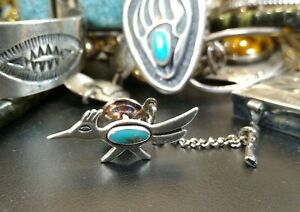 Bell Trading Post Turquoise NAVAJO Sterling Silver Bird Roadrunner Tie Hat Pin
