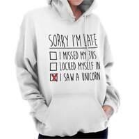 Sorry Im Late Unicorn Chubby Magical Gift Womens Hooded Pullover Sweatshirt