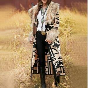 Womens 2020 Chic Geometric Printed Faux Fur Collar Long Jacket Coat Outwear SKGB