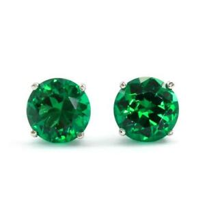 14k White Gold Over 1Ct Round Cut Green Emerald Womens Stud Earrings
