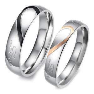 Anelli di Fidanzamento Anello Acciaio Inox 1 O 2 Donna Uomo Cuore Reale Amore