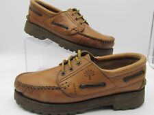 VINTAGE WOODLAND WOMENS 9 9.5 40 BROWN LEATHER 3 EYE WALKING HIKING SHOES BOAT