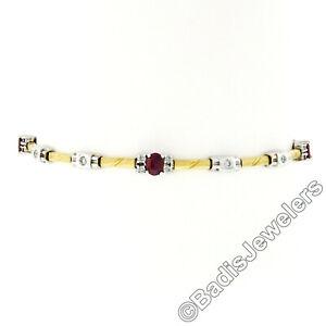 "Estate 18k TT Gold 2.30ct Oval Wine Red Ruby & Diamond 7.25"" Chain Link Bracelet"