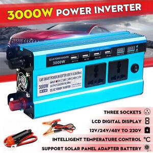 3000W Spitze Auto Solar Spannungswandler DC 12/24/48V AC 220V Wechselrichter LCD