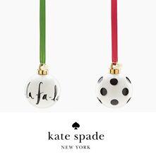 Kate Spade SET of 2 Deck Halls Christmas Ornaments Fa La La Polka Dot LENOX NEW