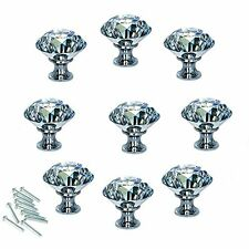 Cabinet Knobs and Pulls 10pcs. 4mm Diamond Shape Crystal Glass Cupboard Drawer