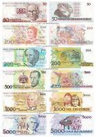 Brazil 50 + 100 + 200 + 500 + 1000 + 5000 Cruzeiros Set of 6 Banknotes 6 PCS UNC