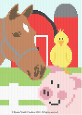 Crochet Patterns - FARM FRIENDS - HORSE PIG and CHICK Baby Graph Afghan Pattern