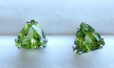 Peridot Earrings 6x6 mm Faceted Trillions /Sterling Silver Post & Nut  1.61 cts.