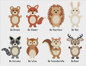 Woodland Animals Bear Fox Owl Rabbit Deer Cross Stitch Pattern by Meloca Designs