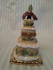 Blue Sky Clayworks Heather Goldminc August Birthday Cake hinged Trinket box 2002