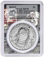 2019 P Apollo 11 50th Anniv Silver Dollar PCGS MS70 First Day Apollo Frame