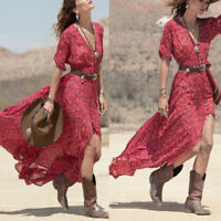 Fashion Sexy Womens Boho Summer Chiffon Floral Print Party Beach Long Maxi Dress