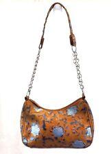 Old Navy Women's Handbag Bag Purse Hobo Brown Blue Floral Embossed Vinyl Small
