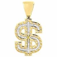 Diamond Dollar Sign Pendant Mens 10K Yellow Gold Money Symbol Charm 0.54 Tcw.