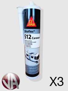 3 x Sika Sikaflex 512 522 Caravan Sealant Adhesive WHITE Bonding Motorhome 02/22
