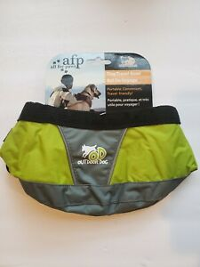 New AFP Outdoor Dog Travel Collapsible Fold Flat Water Bowl Green/Gray/Black