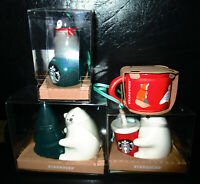2019 set of 4 STARBUCKS Christmas HOliday ornaments Penguin Polar bear red cup