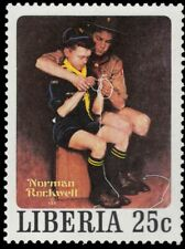 """LIBERIA 856e - """"Knot Tying"""" by Norman Rockwell (pf47353)"""