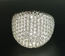 18K White Gold Pave-set Diamond Huge Modern Designer Concave Cocktail Ring