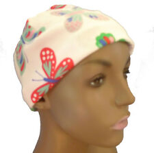 White Butterfly Chemo Cancer Hair Loss Hat Sleep Cap Soft 100% Cotton Scarf CPAP