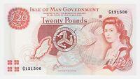 Isle of Man 20 Pounds 2000 P45b GEM UNC Queen Elizabeth Currency Note Prefix G