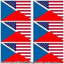 USA United States America-CZECH REPUBLIC & American Flag 40mm Stickers Decals x6