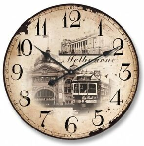 Melbourne Wall Round Clock  Rustic Vintage Wooden Wall Hanging Home Decor