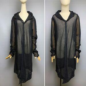 INDIVIDUAL SENTIMENTS Black Fishnet Long Cape Men's (Unisex) Size 4 Hooded Sheer