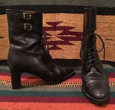RALPH LAUREN Collection Black Leather Lace-Up Granny Victorian Boots 7B ITALY