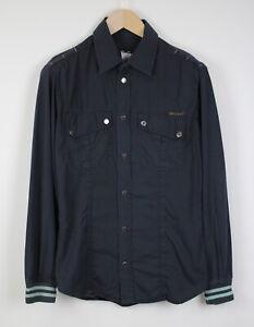 DOLCE & GABBANA Men's SMALL Dark Blue Snap Buttons Casual Shirt 40809_ES