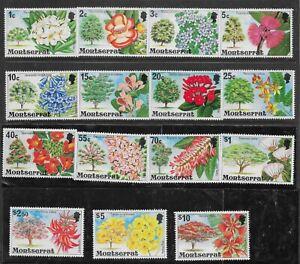 MONTSERRAT SG371/85 1976 FLOWERING TREES DEFINITIVE SET MNH
