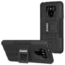 AMZER Black Dual Layer Hybrid Warrior Case Rugged Cover Stand For LG G6 G6+ Plus