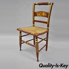 Vintage Red & Gold Harvest Stencil Paint Rush Seat Side Chair L Hitchcock Style