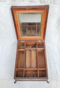 Antico Primitive a Mano Portatile Barbiere Multiuso Scatola di Legno Decorativi
