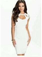 BNWT🌹KIM KARDASHIAN🌹@ LIPSY Size 8 WHITE HOTFIX CUTOUT NEW EVENING DRESS Small