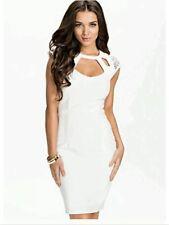 BNWT🌹KIM KARDASHIAN🌹@ LIPSY Size 8 WHITE HOTFIX CUTOUT NEW EVENING DRESS Small