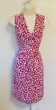 Diane von Furstenberg Noe leopard leaves pink white dress scoop drape 10 Dahlia