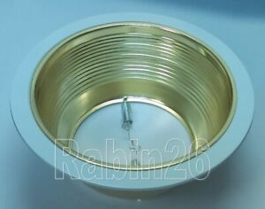 6 INCH RECESSED LIGHT STEP BAFFLE FOR R30 R40 GOLD BRASS REFLECTOR TRIM WHITE