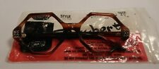 Vintage Raybert Octo Demi Amber 52/20 Jeweled Eyeglass Frame New Old Stock #306