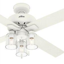 Hunter Fan 52 Polegadas Indoor, casual, Ventilador De Teto Branco Fosco Com Kit De Luz